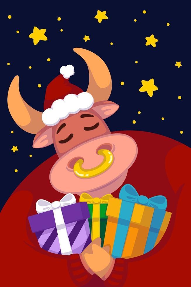 toro in un cappello da Babbo Natale e un maglione rosso con doni sullo sfondo del cielo stellato. anno del bue. mucca felice. capodanno e buon natale illustrazione. simbolo dello zodiaco cinese dell'anno 2021. vettore