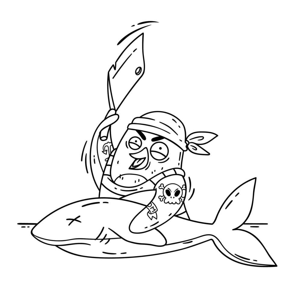 pinguino pirata pazzo taglia uno squalo con una mannaia. cucinare sulla nave cucinando il pesce. illustrazione vettoriale uccello divertente isolato su sfondo bianco in stile doodle. immagine per la pagina da colorare.