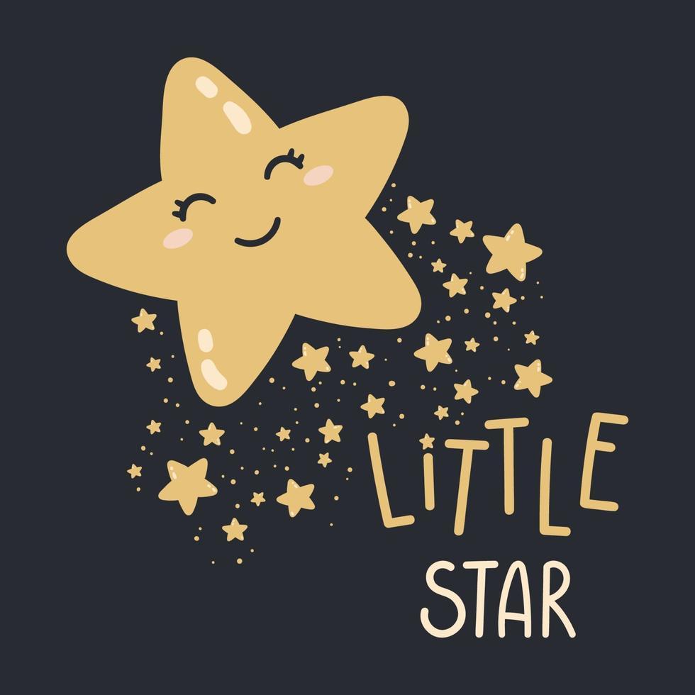 piccola stella felice su uno sfondo scuro. buona notte illustrazione vettoriale. stampa per cameretta, biglietto di auguri, magliette e vestiti per bambini e neonati, le donne indossano. vettore