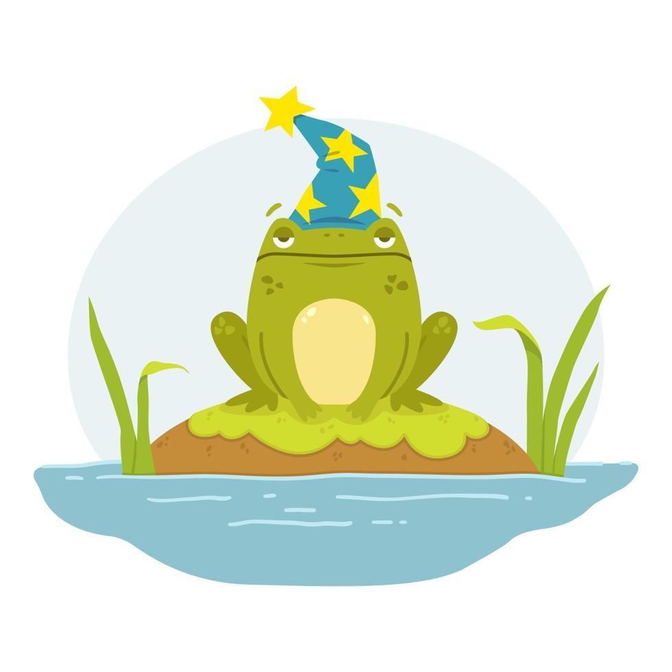 una rana in una palude con il cappello di un mago. rospo merlino. simpatico personaggio disegnato a mano piatto. illustrazione per il libro delle fiabe. illustrazione vettoriale isolato su sfondo bianco.