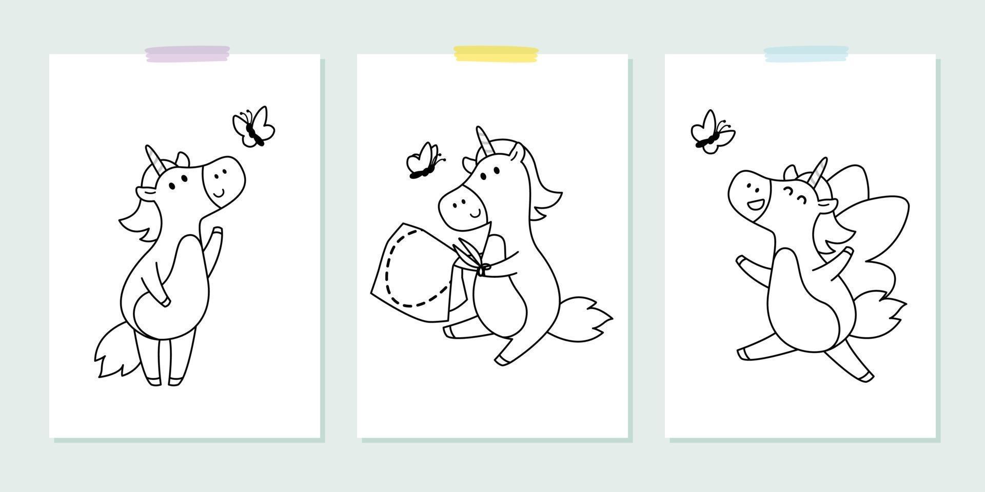 vettore impostato con graziosi unicorni con farfalla in stile infantile. illustrazione vettoriale per libro da colorare. contorno immagine in bianco e nero per i bambini.