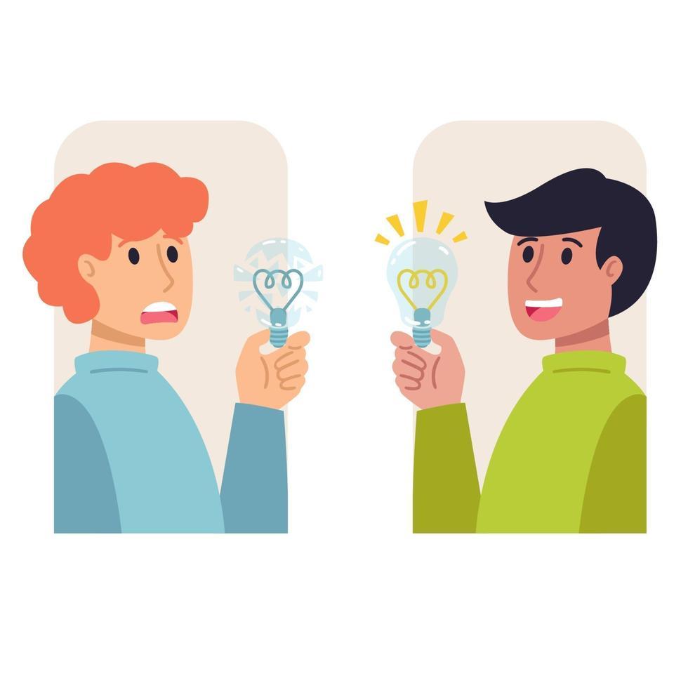 due uomini con le lampadine in mano, cattiva e buona idea. intuizione, ispirazione, eureka, aha momento decisionale, concetto di pensiero. illustrazione vettoriale piatta.