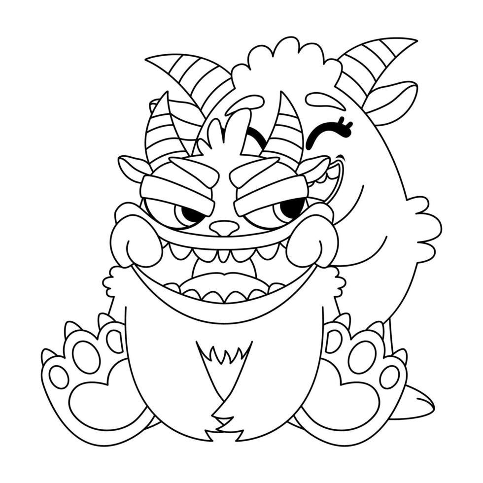 simpatici mostri tira un sorriso. scarabocchio illustrazione vettoriale per libro da colorare. contorno immagine in bianco e nero per i bambini.