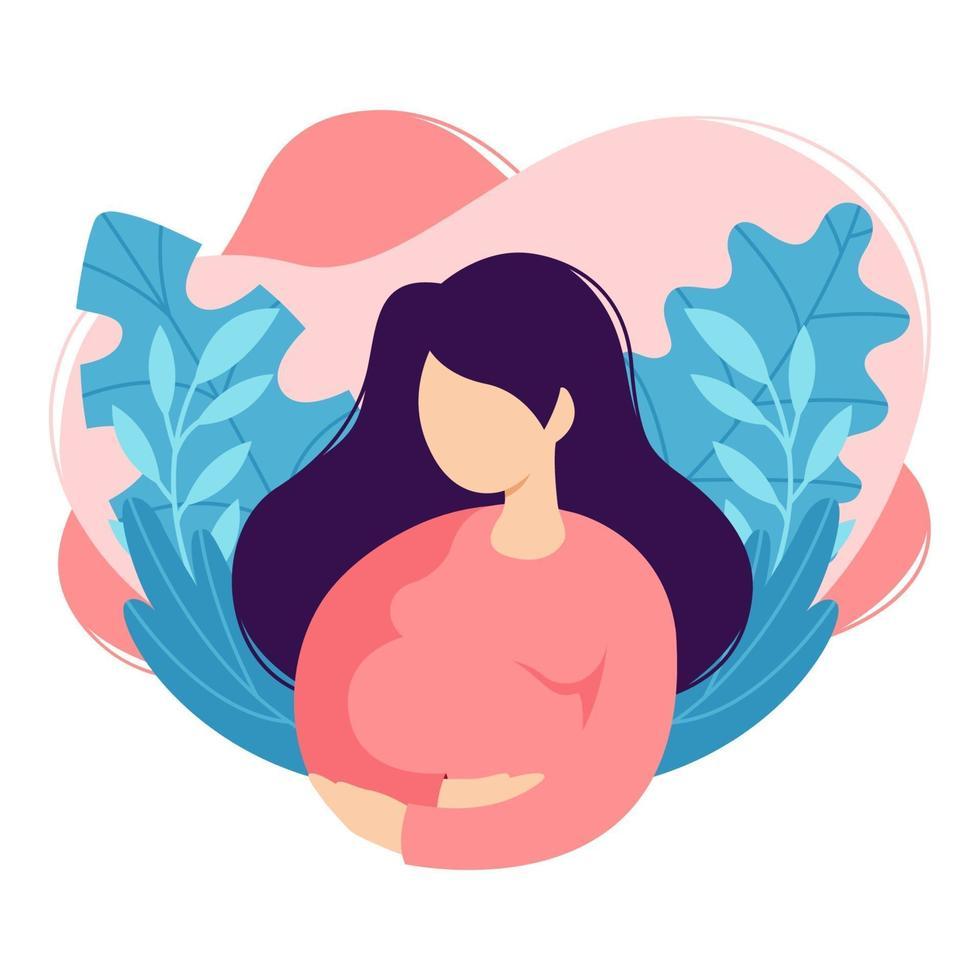 la donna incinta tocca la pancia. signora che aspetta il bambino accarezza la pancia. futura madre. disegno del fumetto, salute, cura, genitorialità maternità. illustrazione vettoriale su sfondo bianco in stile piatto alla moda.