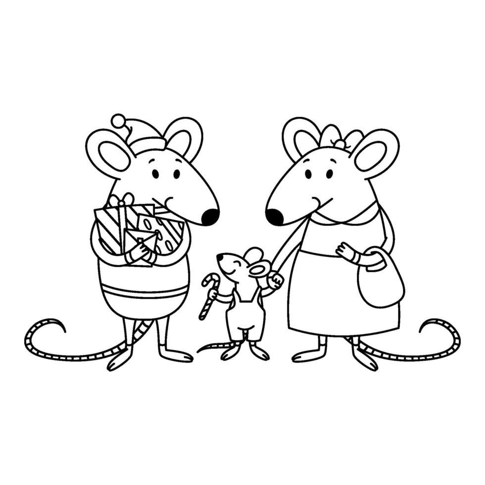 famiglia di ratti di Natale. papà con doni, mamma tiene un bambino per mano, un ragazzino con zucchero filato. felice anno nuovo cinese topi. illustrazione di contorno vettoriale per la pagina da colorare.
