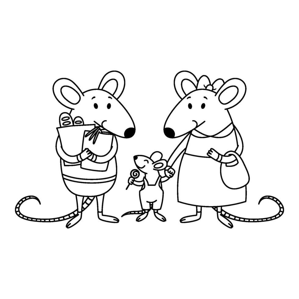 famiglia di ratti. papà tiene i pacchi con gli acquisti dal negozio, la mamma tiene per mano un bambino, un ragazzino con delle caramelle. illustrazione di vettore del personaggio animale dei cartoni animati. contorno per libro da colorare.