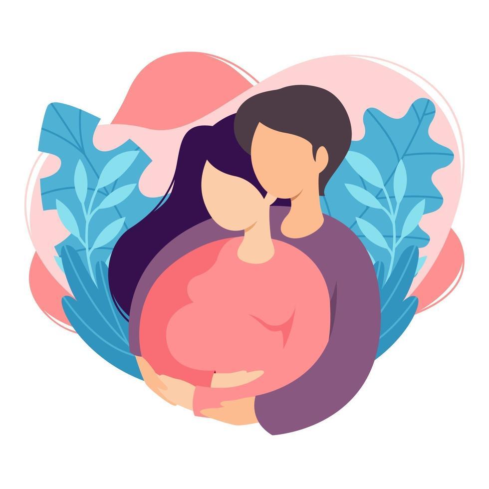 futuri genitori uomo e donna aspettano un bambino. coppia di marito e moglie si preparano a diventare genitori. uomo che abbraccia la donna incinta con la pancia. maternità, paternità. illustrazione vettoriale piatta.