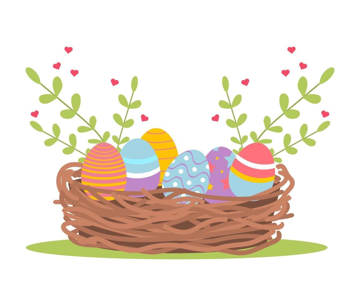 Merce nel carrello delle uova di Pasqua vettore