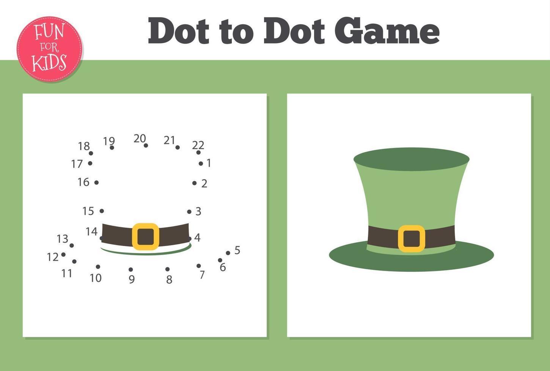 punto per punto gioco per i bambini a casa scuola. pagina da colorare con cappello leprechaun per l'educazione dei bambini. vettore