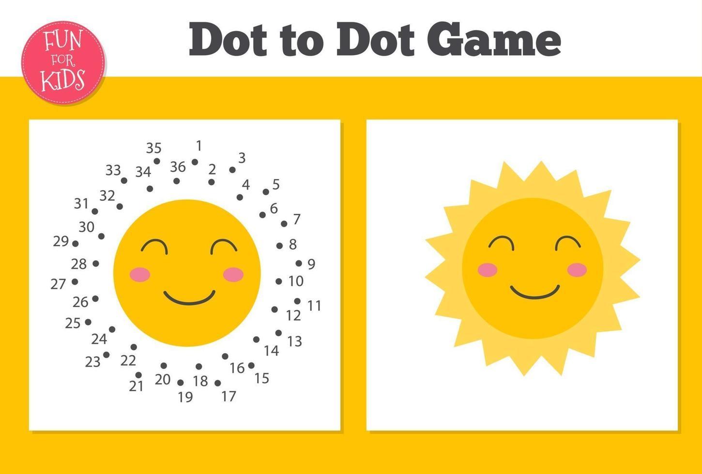 punto per punto felice gioco del sole per i bambini a scuola a casa. pagina da colorare per l'educazione dei bambini. vettore