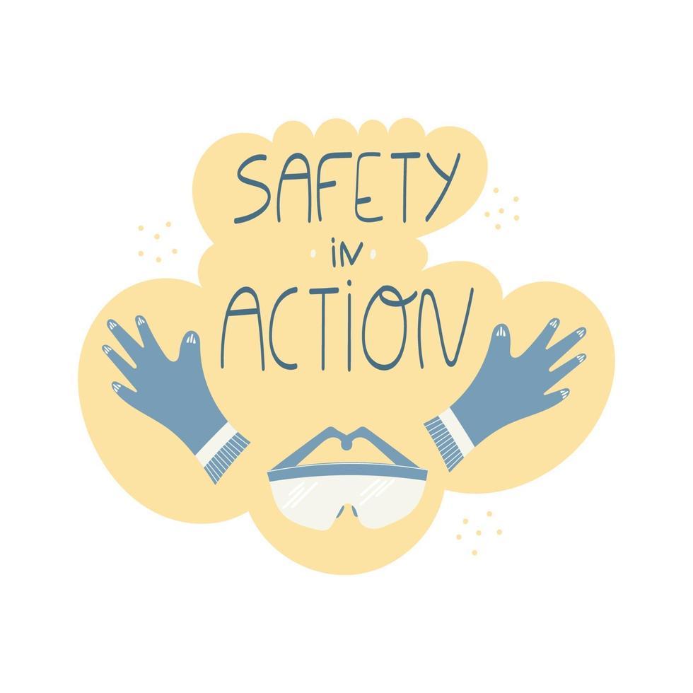 sicurezza nella frase scritta a mano con guanti e occhiali di sicurezza vettore