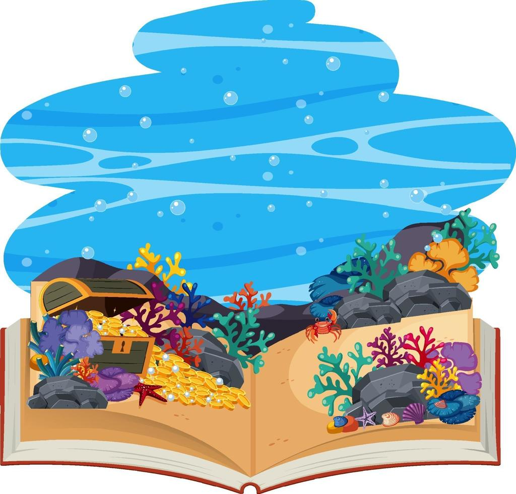 libro pop-up 3d subacqueo vettore