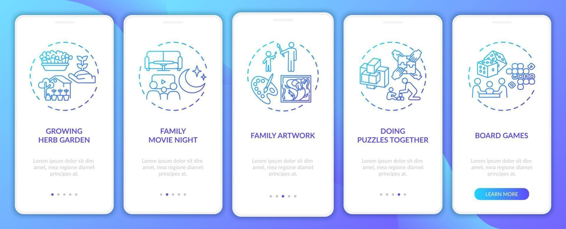 attività familiari indoor onboarding schermata della pagina dell'app mobile con concetti vettore