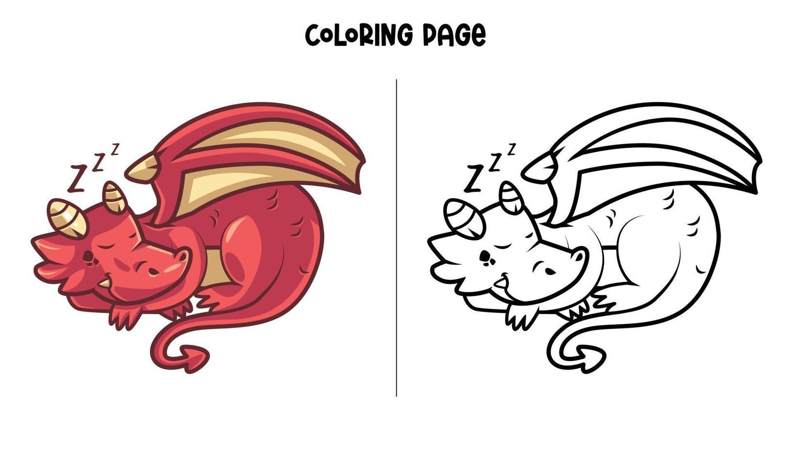 Pagina da colorare di drago rosso che dorme vettore