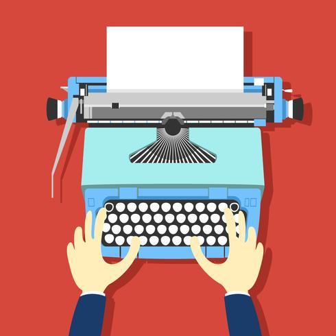 Vettore blu della macchina da scrivere