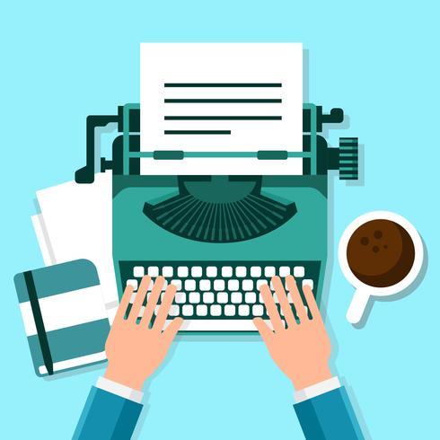 Posto di lavoro con illustrazione di macchina da scrivere vettore