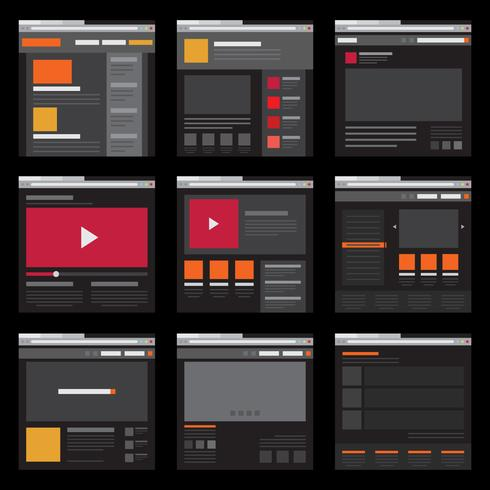 Wireframe Elemento mobile e modello di layout di pagina Web in design piatto vettore