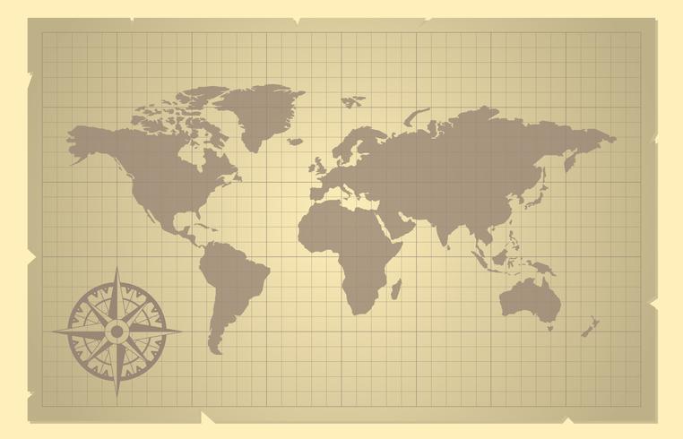 La mappa e la bussola di mondo sono aumentato su vecchia illustrazione di carta vettore