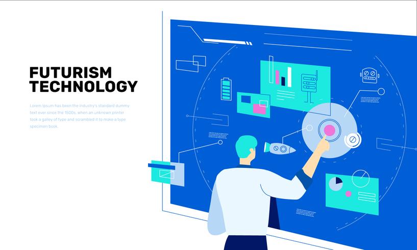 Professore futuro dell'innovazione tecnologica sull'illustrazione piana di vettore del touchscreen