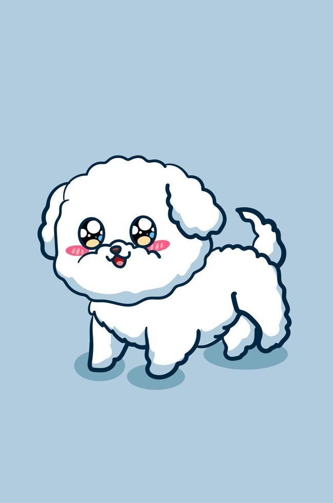carino e felice cane barboncino giocattolo animale fumetto illustrazione vettore