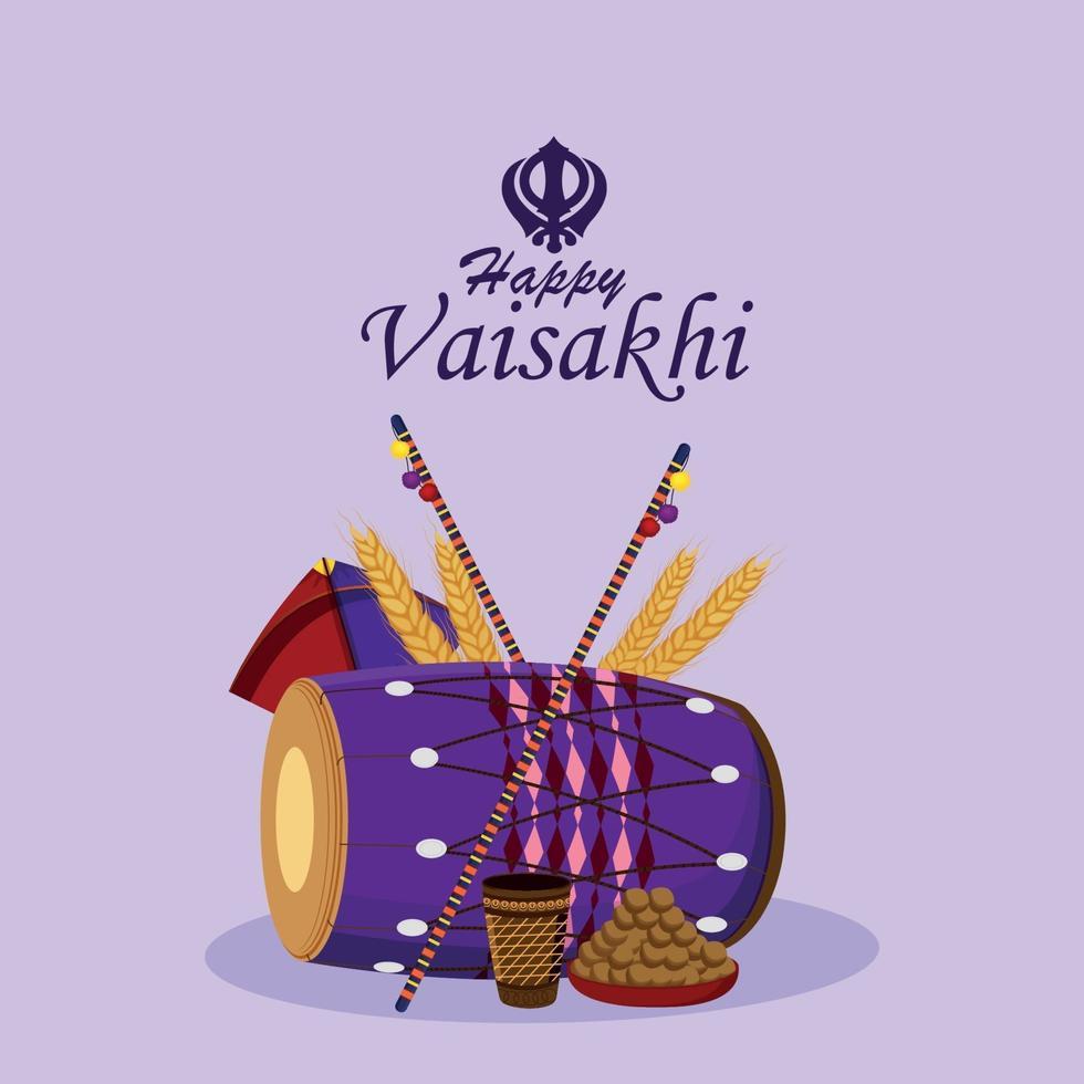 sikh festival felice celebrazione vaisakhi sfondo vettore