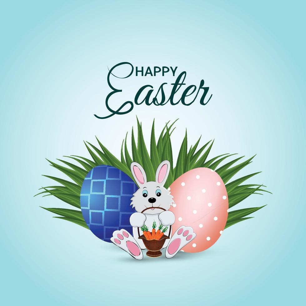 illustrazione di Pasqua con erba verde creativa con uova di Pasqua colorate vettore