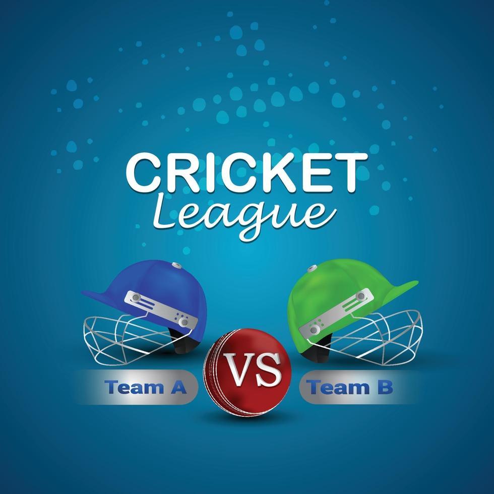 campionato di cricket leagur con casco da cricket vettore