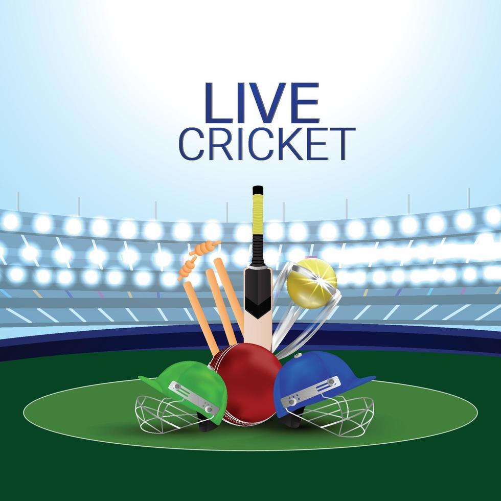sfondo stadio di cricket dal vivo con attrezzatura da cricket vettore
