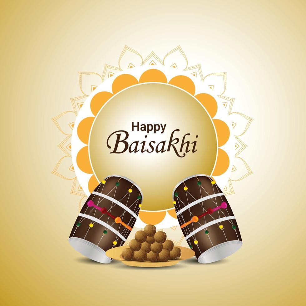 felice festival e sfondo sikh vaisakhi indain vettore