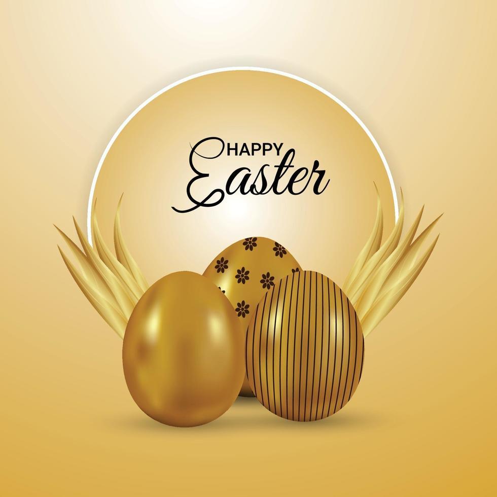 giorno di Pasqua con uova d'oro e sfondo vettore