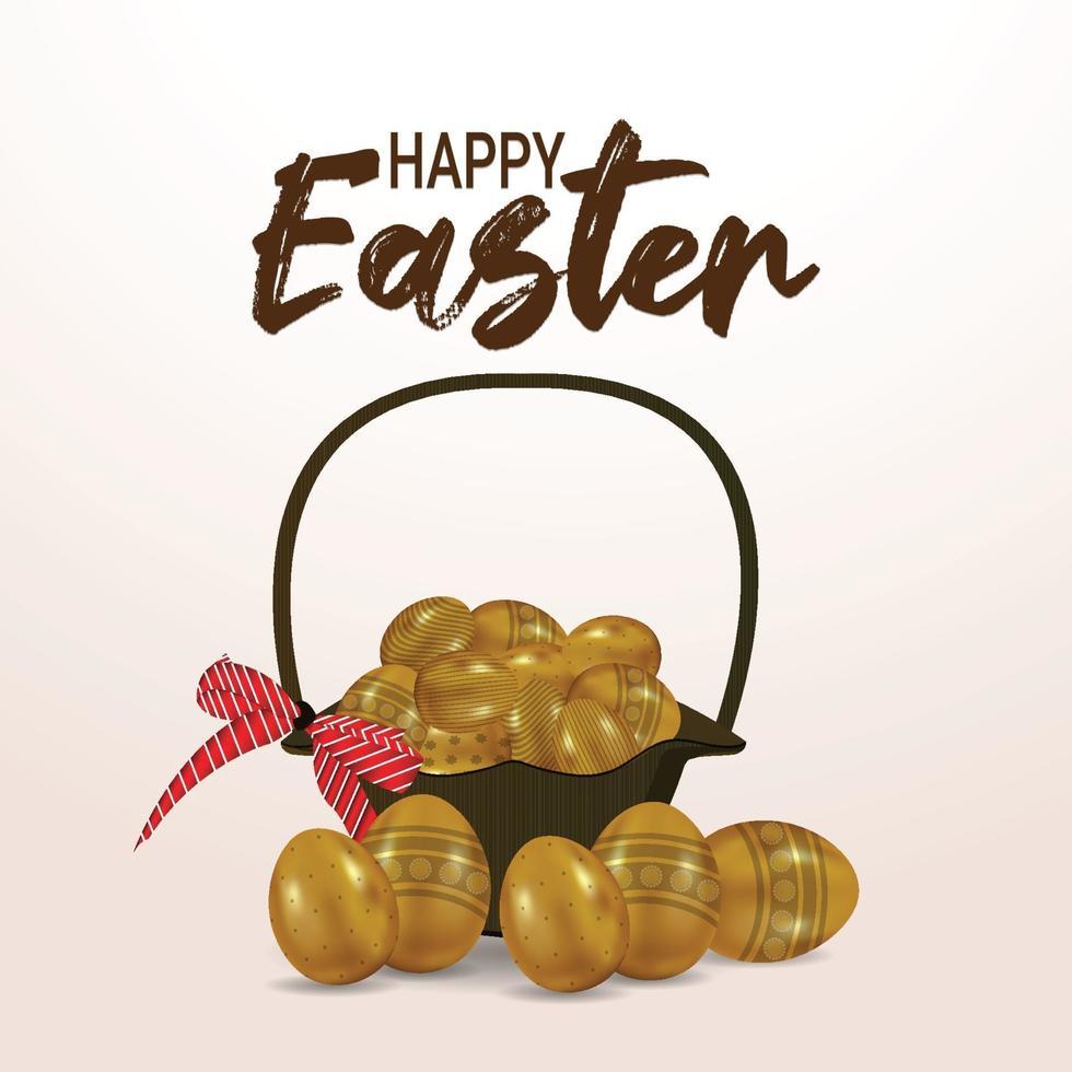 felice sfondo di Pasqua con la Pasqua dorata con cesto vettore