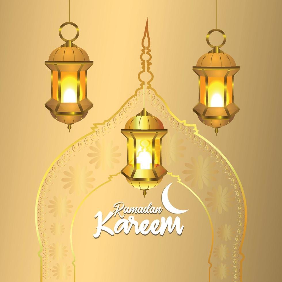 lanterna araba di ramadan kareem con luna dorata vettore