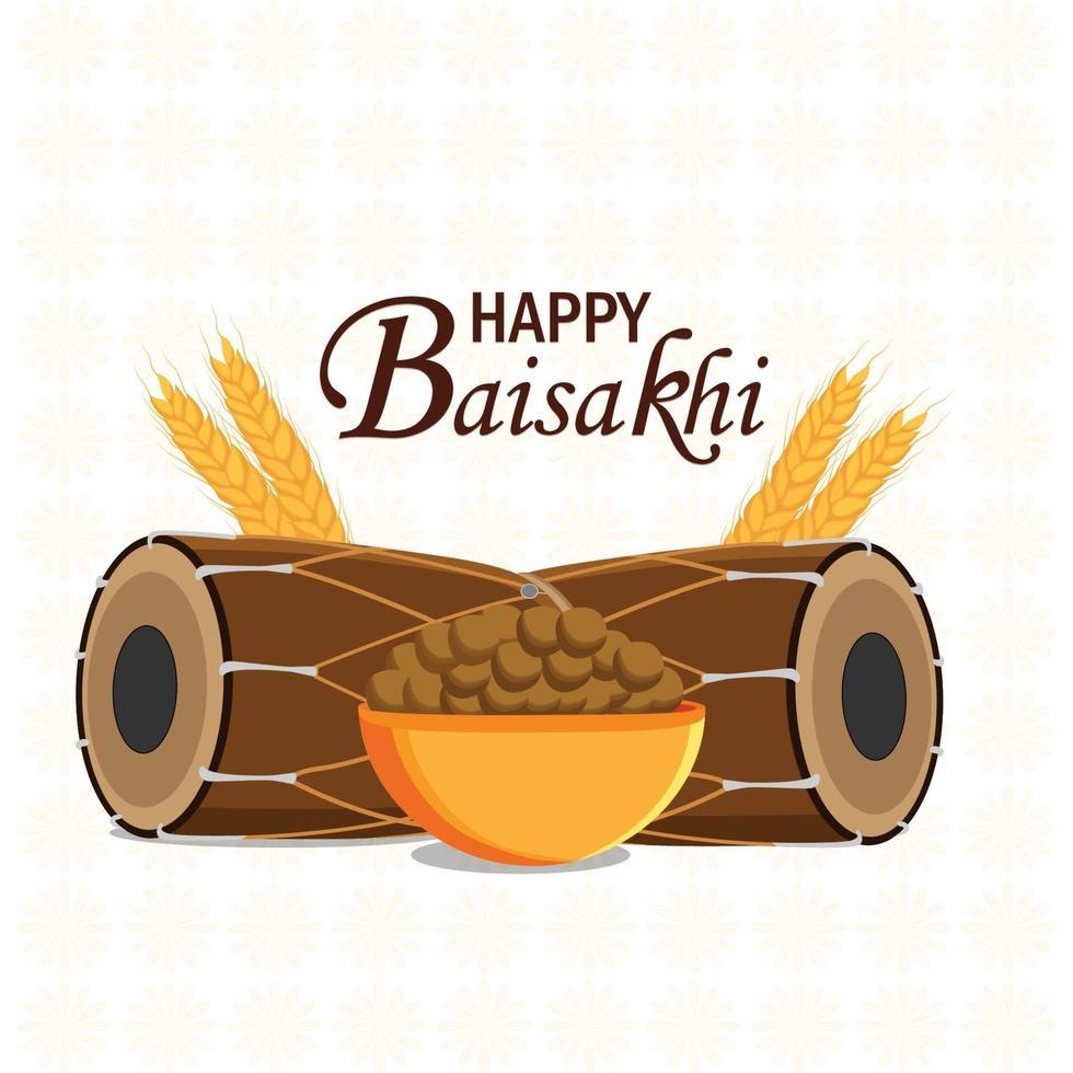 felice concetto di design piatto baisakhi con dhol e grano vettore