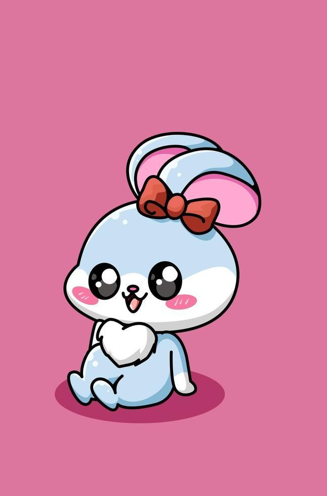illustrazione di cartone animato di coniglio bambino carino e felice vettore