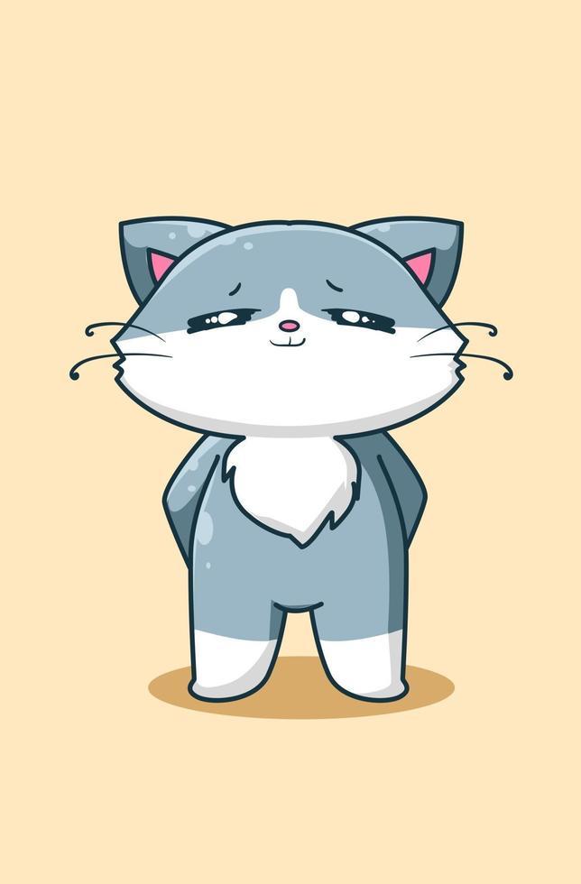 illustrazione di cartone animato gatto felice e carino vettore