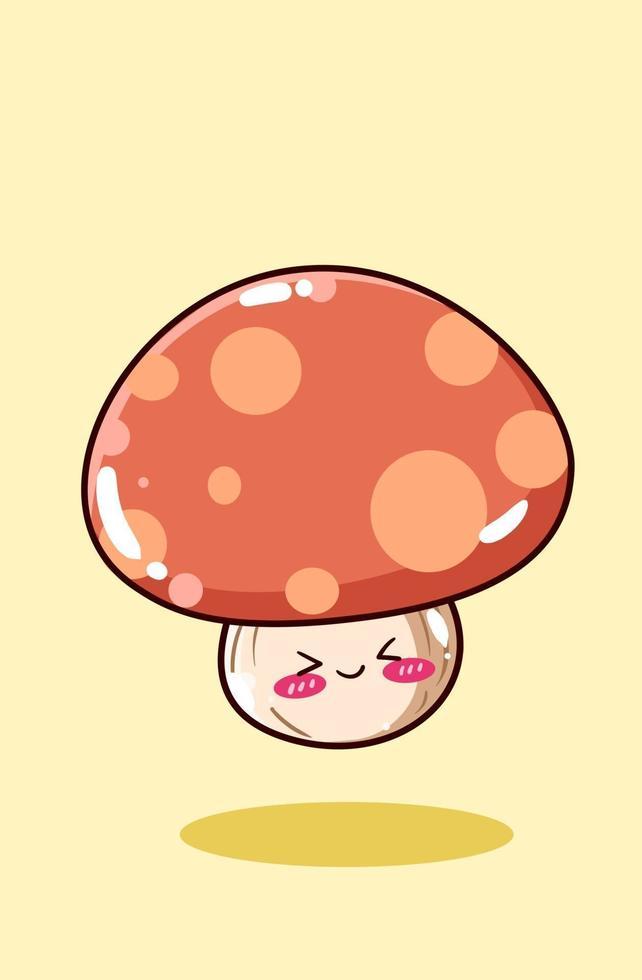 illustrazione di cartone animato fungo bambino carino e felice vettore