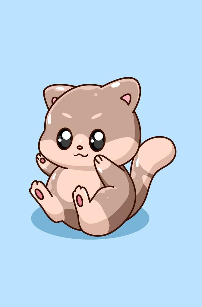 illustrazione di cartone animato gatto bambino felice e divertente vettore