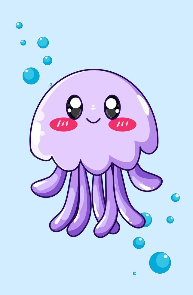 illustrazione di cartone animato medusa viola felice e divertente vettore