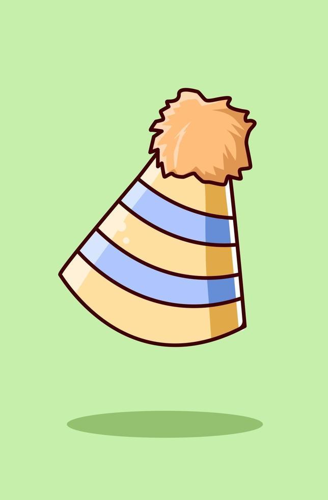 illustrazione del fumetto dell & # 39; icona del cappello di compleanno vettore