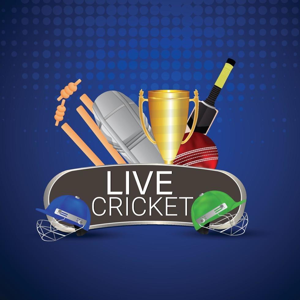 sfondo stadio campionato di cricket con attrezzatura da cricket vettore