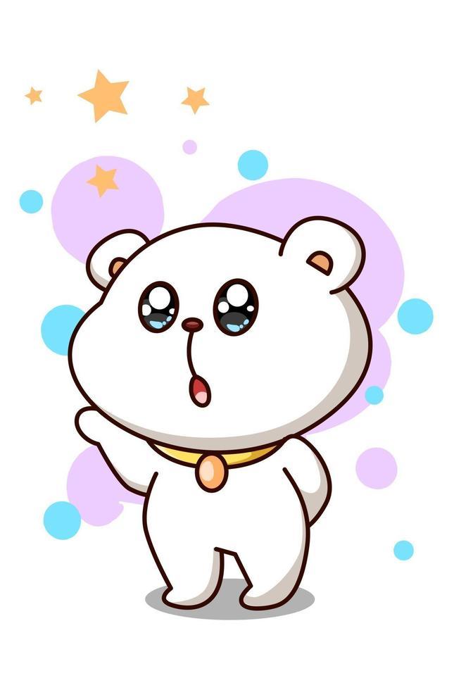 orso carino e felice con illustrazione di cartone animato stelle vettore