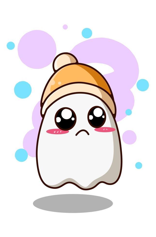 fantasma carino e divertente che indossa l'illustrazione del fumetto del berretto vettore
