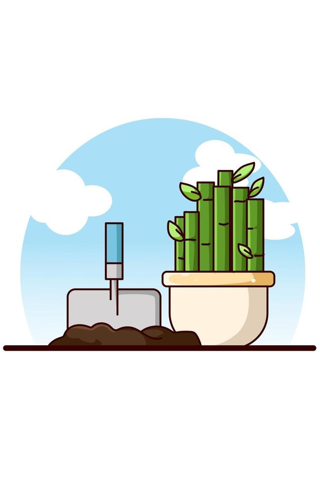 pale e piante ornamentali di bambù cartoon illustrazione vettore
