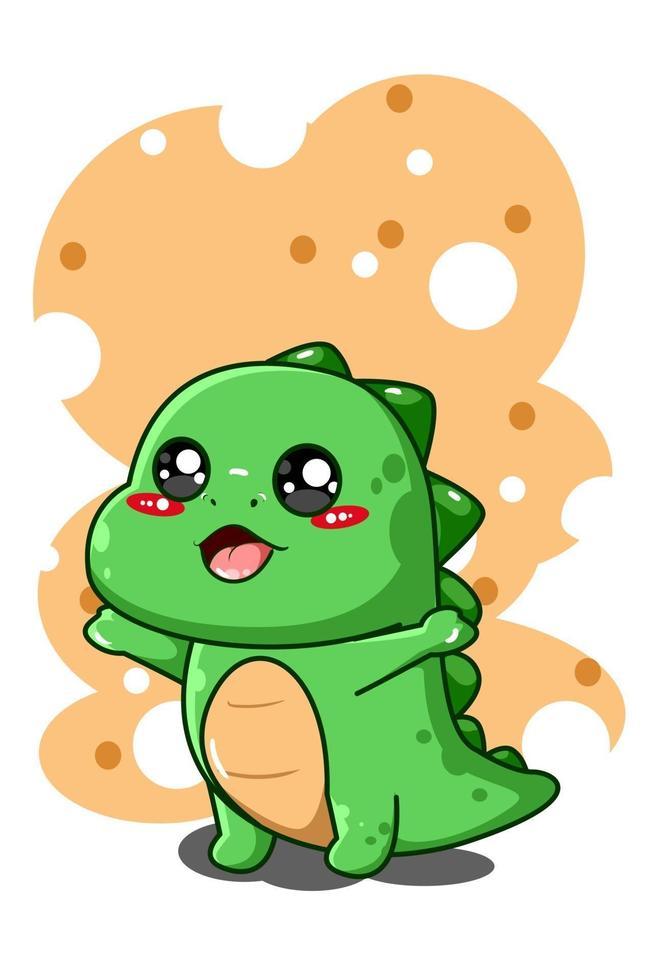 felice e divertente piccolo dinosauro animale fumetto illustrazione vettore