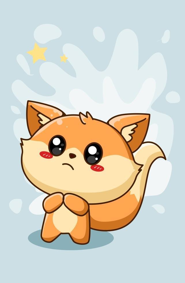 illustrazione di cartone animato carino piccola volpe felice vettore