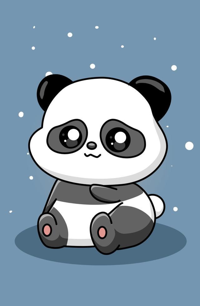 illustrazione di cartone animato carino e felice panda vettore