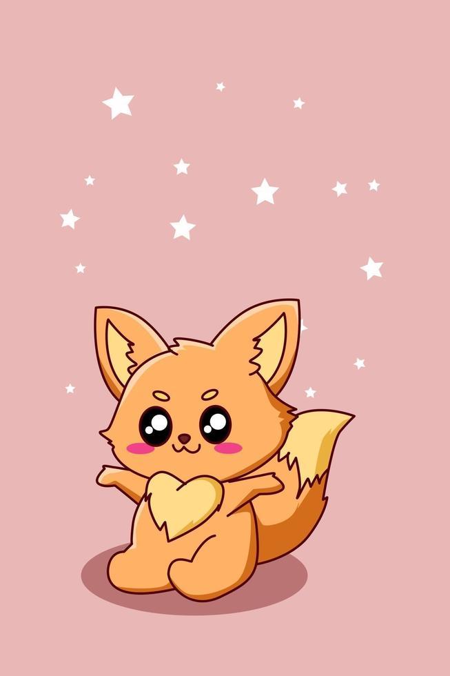 illustrazione di cartone animato piccola volpe felice e divertente vettore