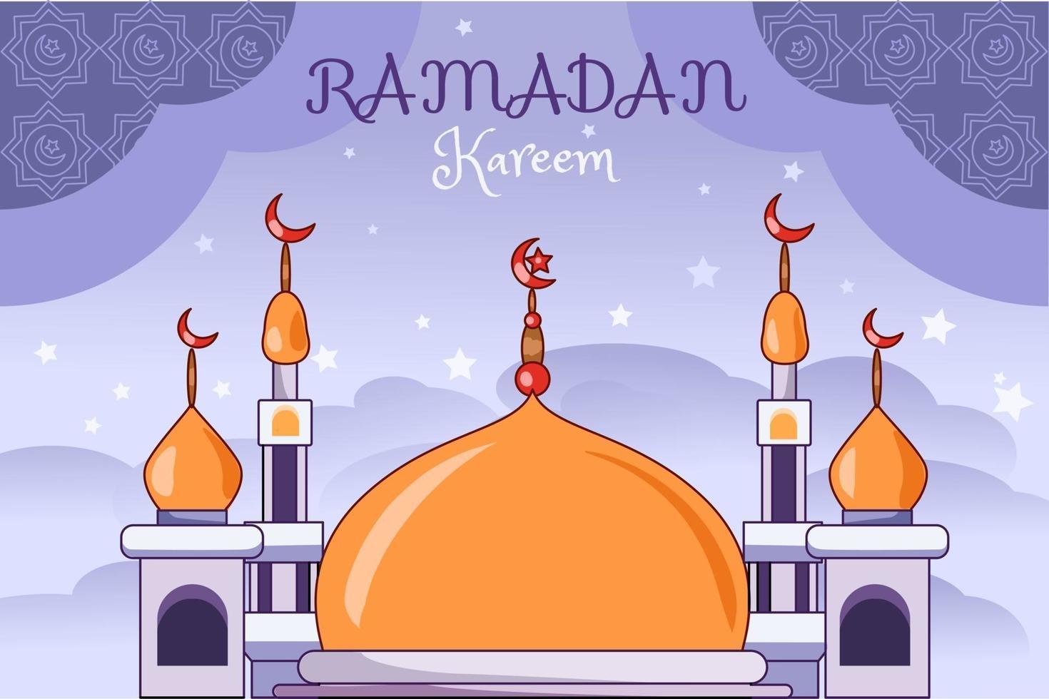 oro viola moschea ramadan kareem fumetto illustrazione vettore