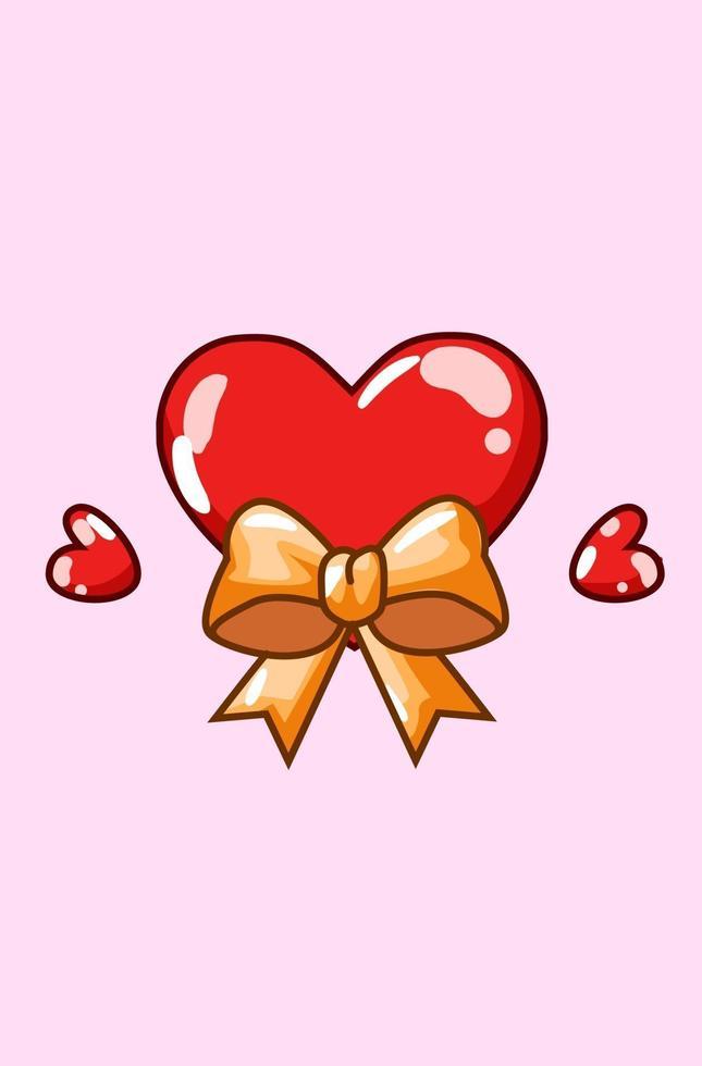 cuori di San Valentino con illustrazione di cartone animato nastro kawaii vettore