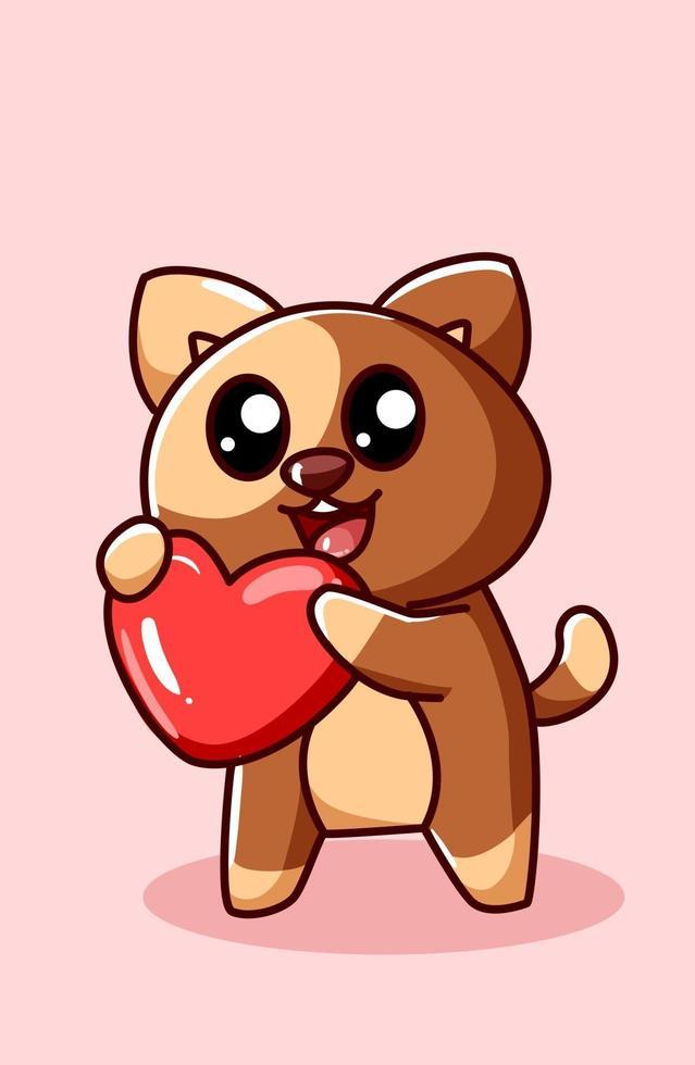 kawaii e divertente cane mostra il suo cuore, illustrazione di cartone animato di San Valentino vettore